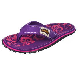 GUMBIES Islander Canvas Thongs Women purple hibiscus